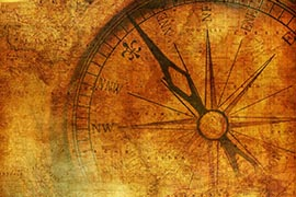 Vintage Journey Background with Aged Metallic Compass. Vintage Backdrop.