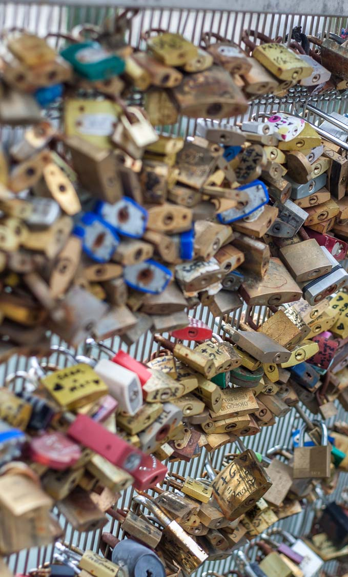 Love padlock on a bridge