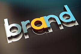 Brand nane design over black background, 3D concept illustration of company identity.